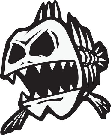 骨格魚の漫画。ベクトルと利用可能な高解像度 jpeg ファイルです。