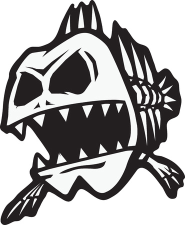 A cartoon of a skeletal fish. Vector and high resolution jpeg files available.