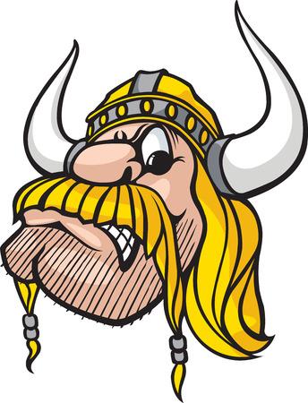 plundering: Cartoon Viking hoofd. Vector en hoge resolutie jpeg-bestanden beschikbaar. Stock Illustratie