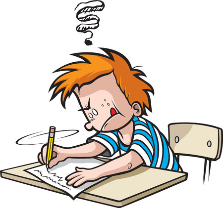 School Boy writing. Cartoon Boy in Grade school writing on paper Illustration
