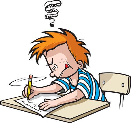 School Boy writing. Cartoon Boy in Grade school writing on paper Illustration
