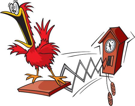 A cartoon cuckoo clock Illustration