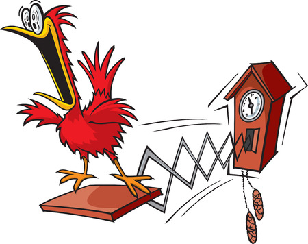 reloj cucu: Un reloj de cuco dibujos animados