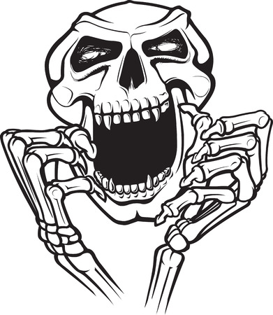 A cartoon skull and hands