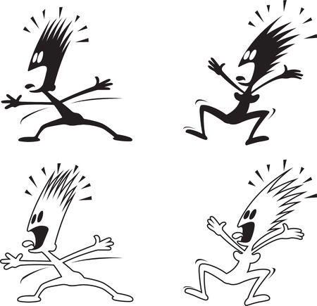 Cartoon of a frightened woman and Man. Black silhouettes and white with black outlines