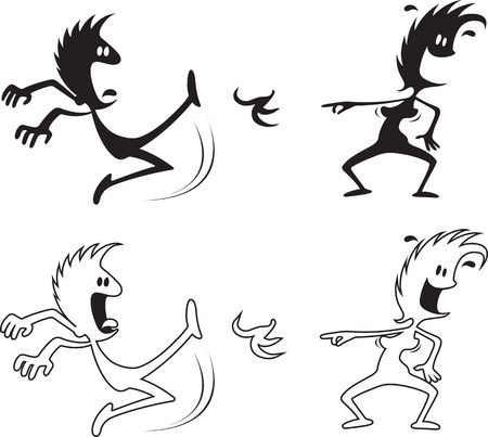Cartoon of a woman laughing at a Man slipping on a banana peel. Black silhouettes and white with black outlines
