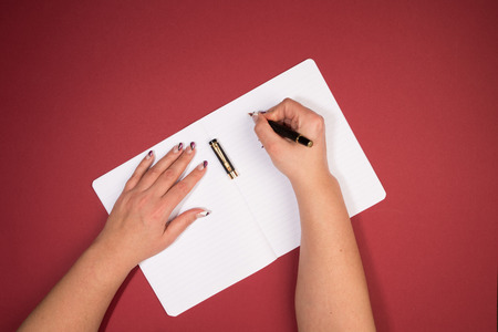 writing a text into a notebook