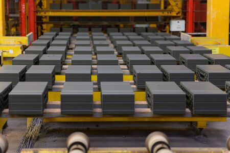 Unburned bricks in production on a conveyor belt