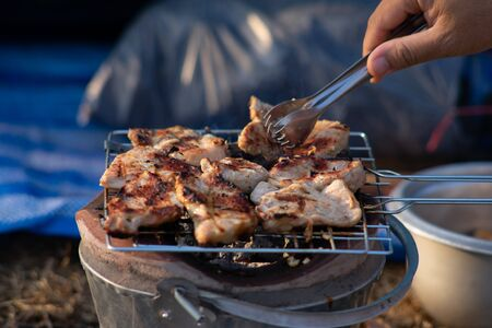 Pictures of pork cooking on charcoal grills in a wild camping