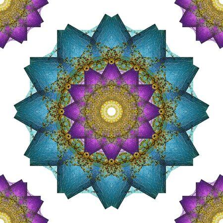 kaleidoscopic: Mandala art, kaleidoscope from beach and sea, Seamless abstract flowers wallpaper background.