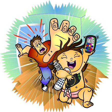 A panicked dad chases down his little girl before she destroys his expensive cell phone or loses many other valuable things Stock Vector - 20306064