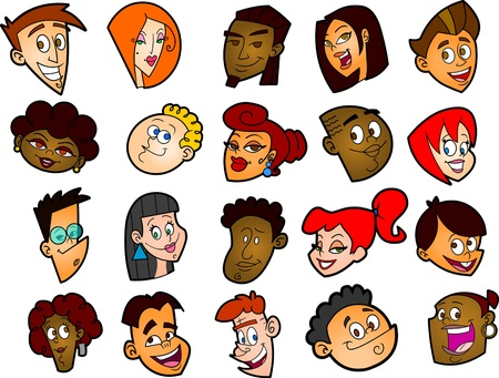 This is a set of 20 twenty different funny cartoon faces. All of the faces are separate from one another.