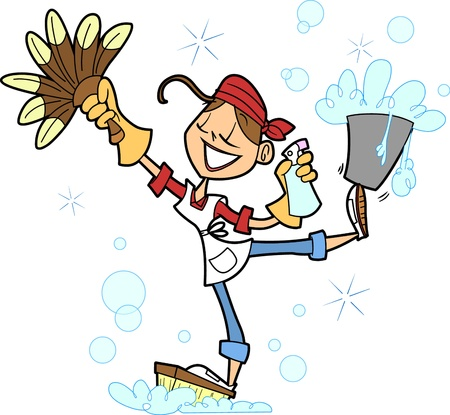 Cette belle dame est un pro à faire avancer les choses nettoyées autour de la maison, et elle est prête à représenter une dame qui aime garder sa maison propre, ou une femme de ménage professionnelle ainsi. Banque d'images - 20306044