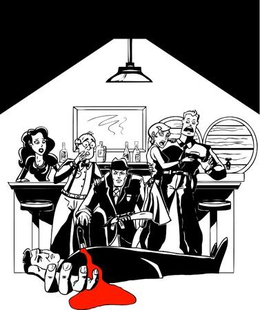 スピークイージーで殺人事件の謎  イラスト・ベクター素材