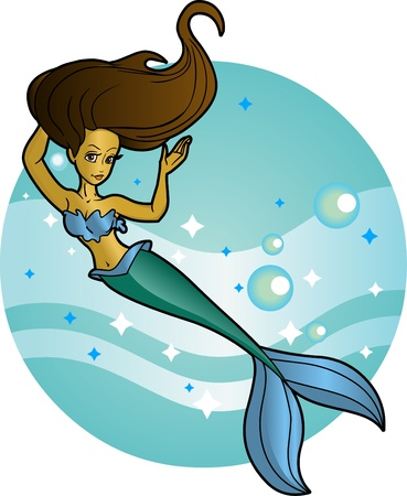 This beautiful tan mermaid is an editable vector character swimming over a removable undersea background.