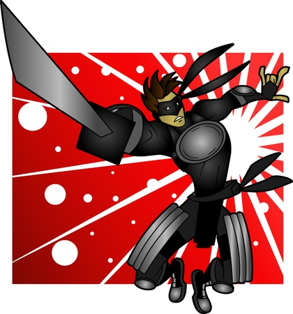 This futuristic dressed ninja is a vector character over a removable background.