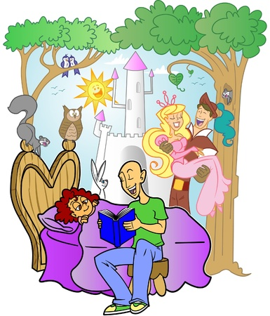 An editable vector cartoon of a kind father reading a fairytale bedtime story to his little girl, while the story comes to life around her. Vector