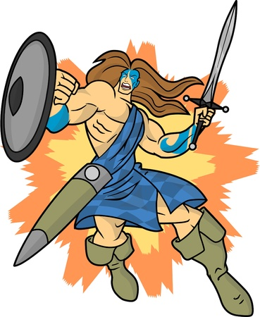 An editable vector cartoon of a fierce highlander or Celtic warrior who is charging into battle. Illustration