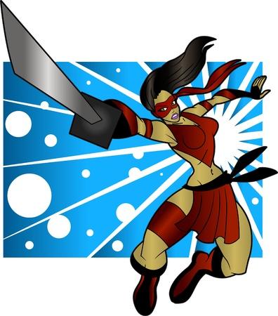 An editable vector cartoon of a beautiful ninja woman who is ready to do battle.