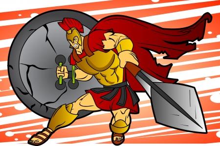 An editable vector cartoon of a fierce Spartan or Trojan warrior who is charging into battle.