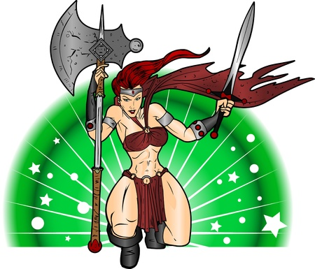 An editable vector cartoon of a beautiful warrior woman who is ready to do battle.