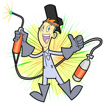 This smiling welder is happy to do his job and he is happy to represent you or your business. He is an editable vector character with a removable background. Vector