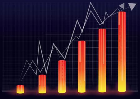 vector illustration of financial graph chart,vector illustration