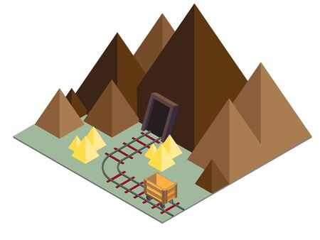 quarry: illustration of mine concept in isometric graphic
