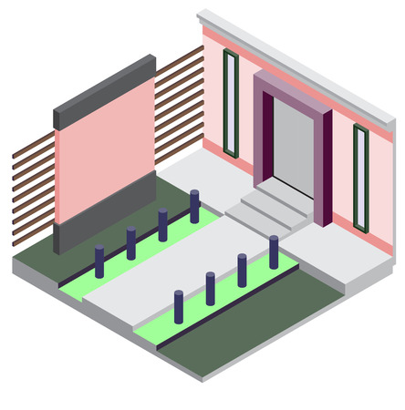 an exterior: illustration of exterior room concept in isometric graphic