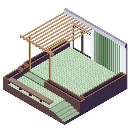 drawing room: illustration of exterior room concept in isometric graphic