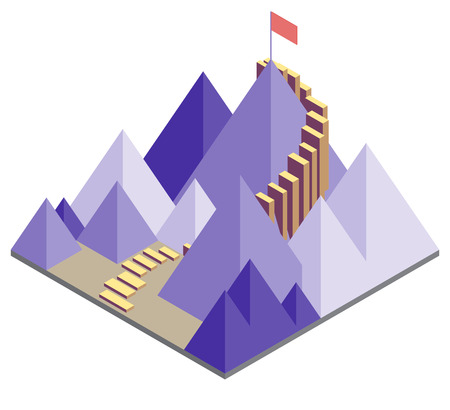illustration of success moutain concept in isometric graphic