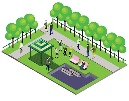 Illustration der Infografik outdoor park Konzept in isometrischer Grafik