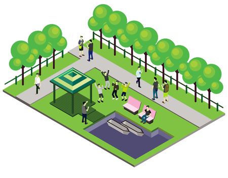 illustration of infographic outdoor park concept in isometric graphic Vettoriali