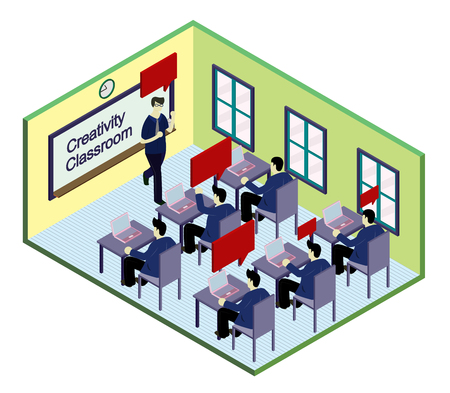 cartoon board: illustration of info graphic classroom concept in isometric graphic