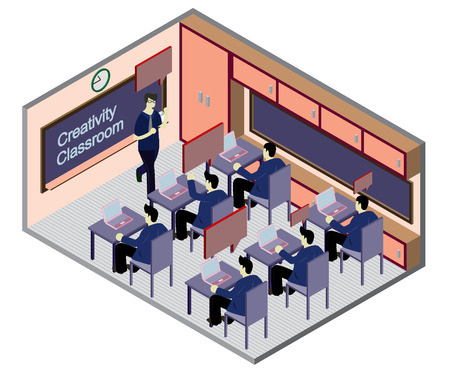 teacher and student: illustration of info graphic classroom concept in isometric graphic