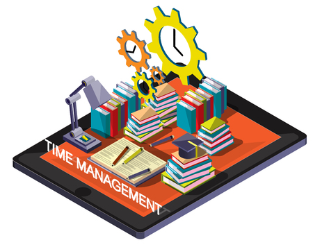 graphic: illustration of info graphic time management concept in isometric graphic