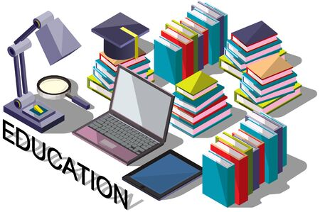 school computer: illustration of info graphic online education concept in isometric graphic Illustration