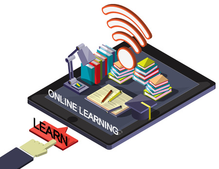 graphic: illustration of info graphic online education concept in isometric graphic Illustration