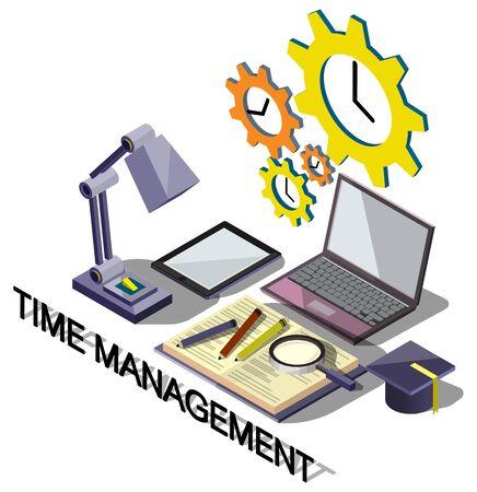 management concept: illustration of info graphic time management concept in isometric graphic