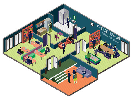 modern office: illustration of info graphic interior  room concept in isometric graphic