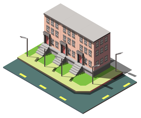 residential neighborhood: illustration of info graphic house concept in isometric graphic
