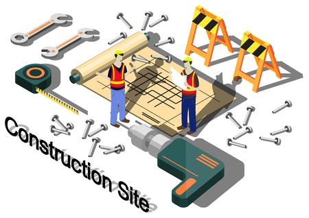 site: illustration of info graphic construction site concept