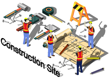 white house: illustration of info graphic construction site concept