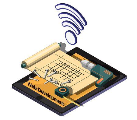 developement: illustration of info web developement concept