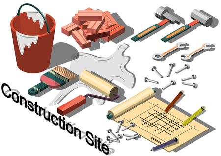 vector sign under construction: illustration of info graphic construction site concept