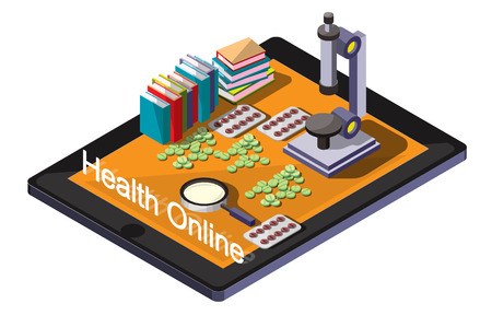 medical abstract: illustration of info graphic online medical concept
