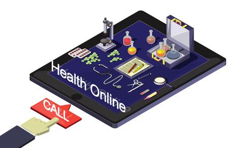 doctor tablet: illustration of info graphic online medical concept
