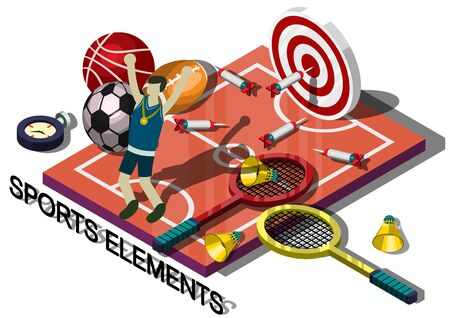 sports equipment: illustration of info graphic sports equipment concept in isometric graphic