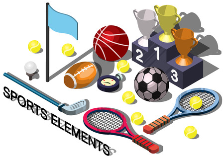 sports equipment: illustration of info graphic sports equipment concept in isometric graphic