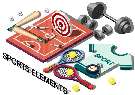 olympic stadium: illustration of info graphic sports equipment concept in isometric graphic
